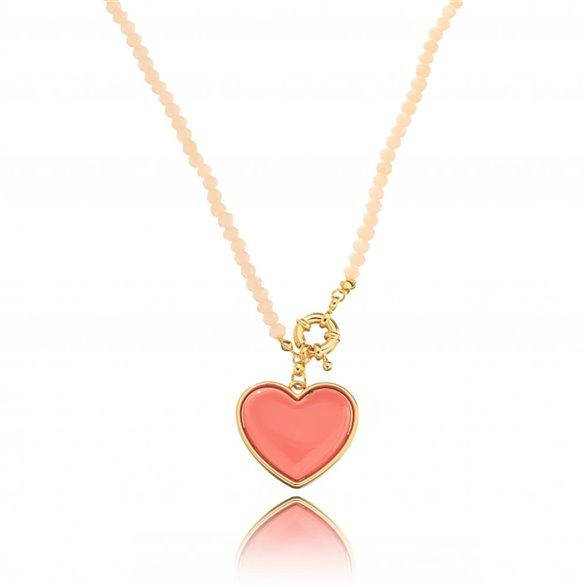 Colar Bolinhas Pingente Coração Color Gazin Banhado Ouro 18K 00015839