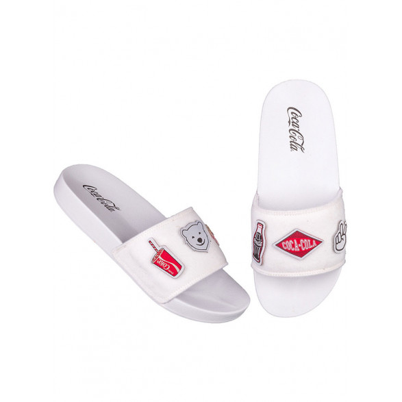 Chinelo Coca Cola Slide Patches - Branco CC2504B