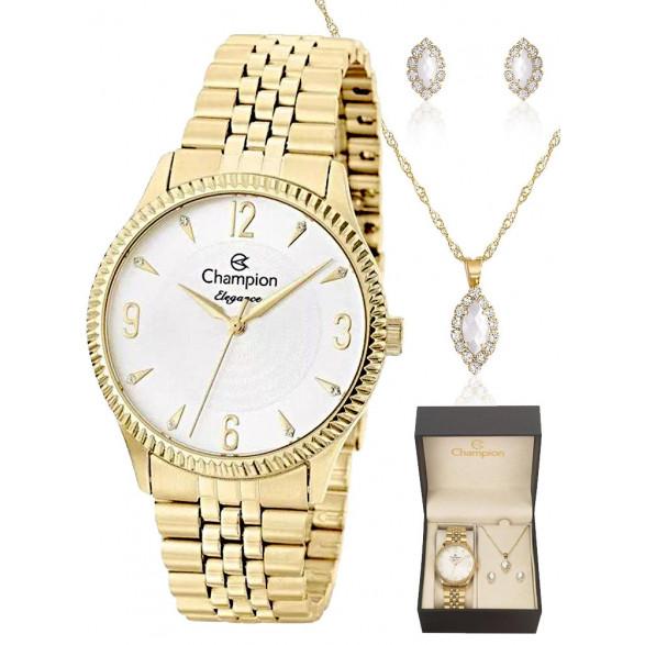 kit Relógio Champion Feminino Elegance + Semi Joias CN26073W CN26073