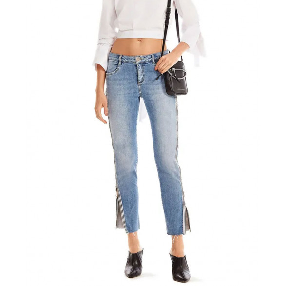 Calca Jeans Morena Rosa Slim Cropped Giane Detalhe Ziper 10000204124000