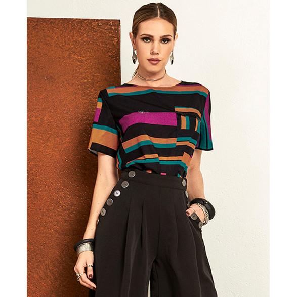 T-Shirt Tigrara Crepe Estampada Bolso Frontal 111214025
